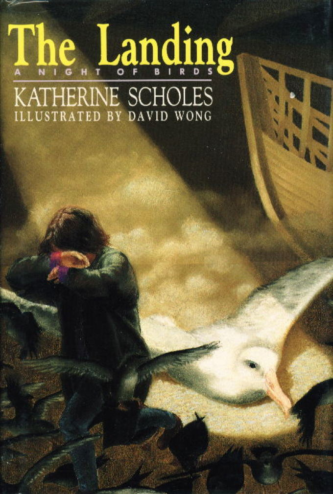 Book cover picture of Scholes, Katherine (illustrated by David Wong.) THE LANDING: A Night of Birds. New York: Doubleday, 1989.