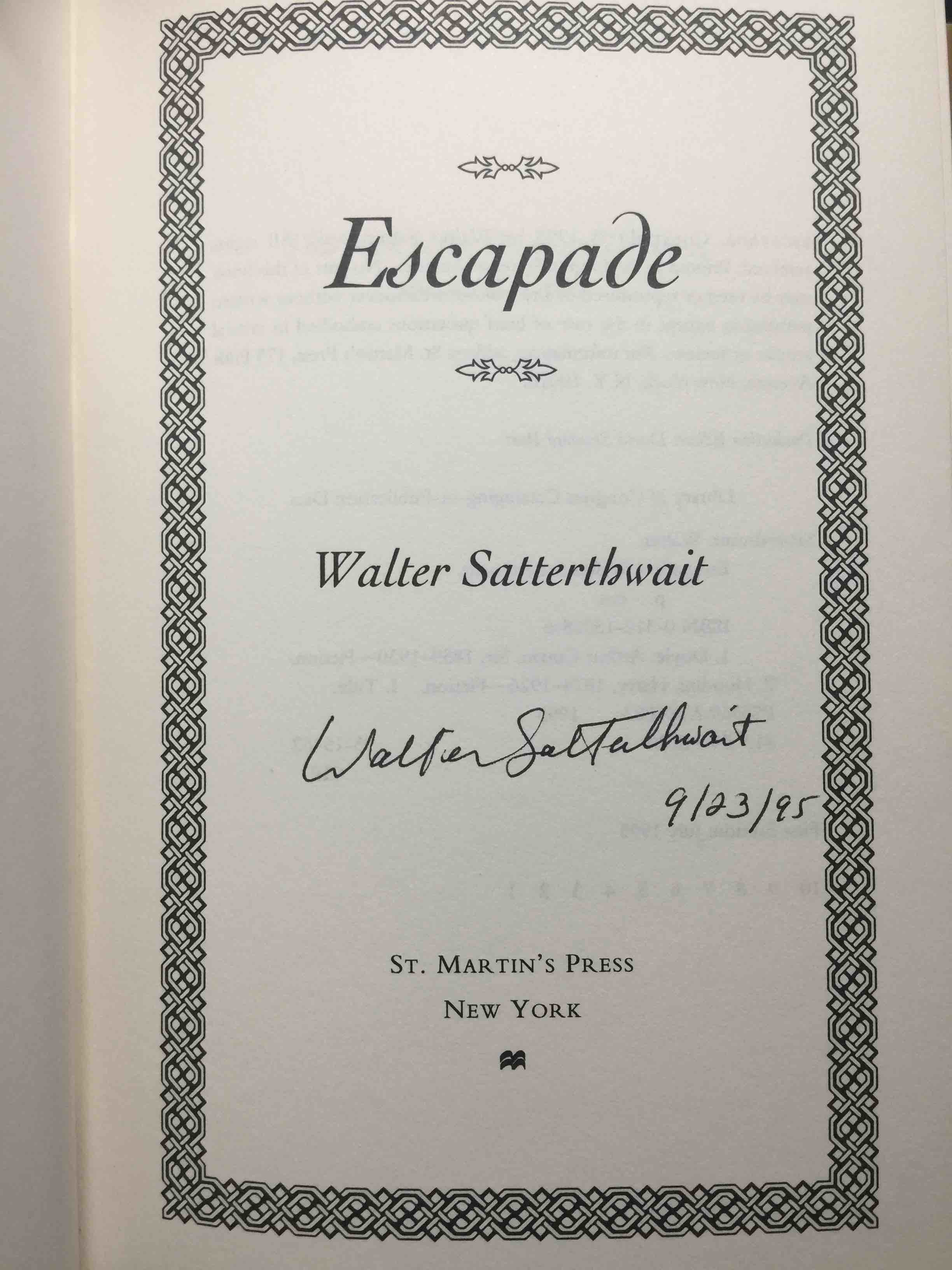 Book cover picture of Satterthwait, Walter. ESCAPADE. New York: St Martin's, (1995.)