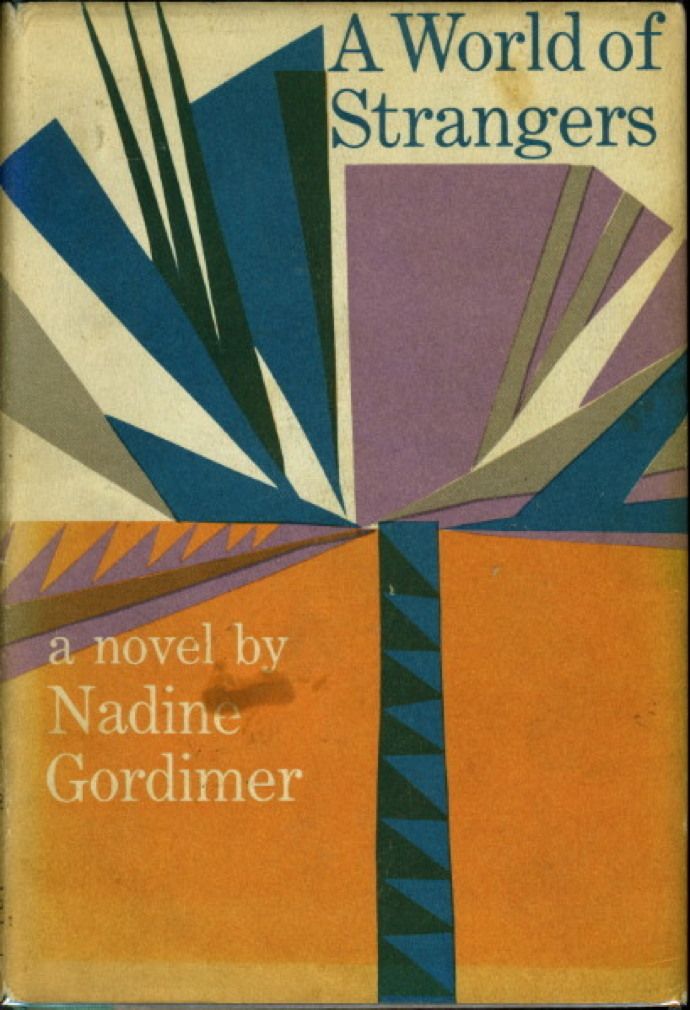 Book cover picture of Gordimer, Nadine. A WORLD OF STRANGERS. New York: Simon & Schuster, 1958.