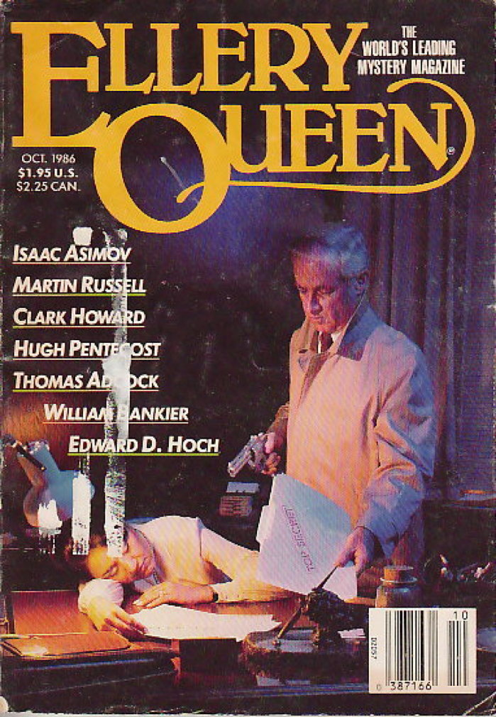Book cover picture of Asimov, Isaac; Martin Russell, Clark Howard, Hugh Pentecost and others, contributors. ELLERY QUEEN'S MYSTERY MAGAZINE, OCT 1986. New York: Davis Publications, 1986.