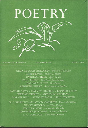 POETRY, Volume 105, Number 3, December 1964. by (Bell, Marvin, signed; LeRoi Jones, Barbara Guest, and others, contributors) Rago, Henry, editor.