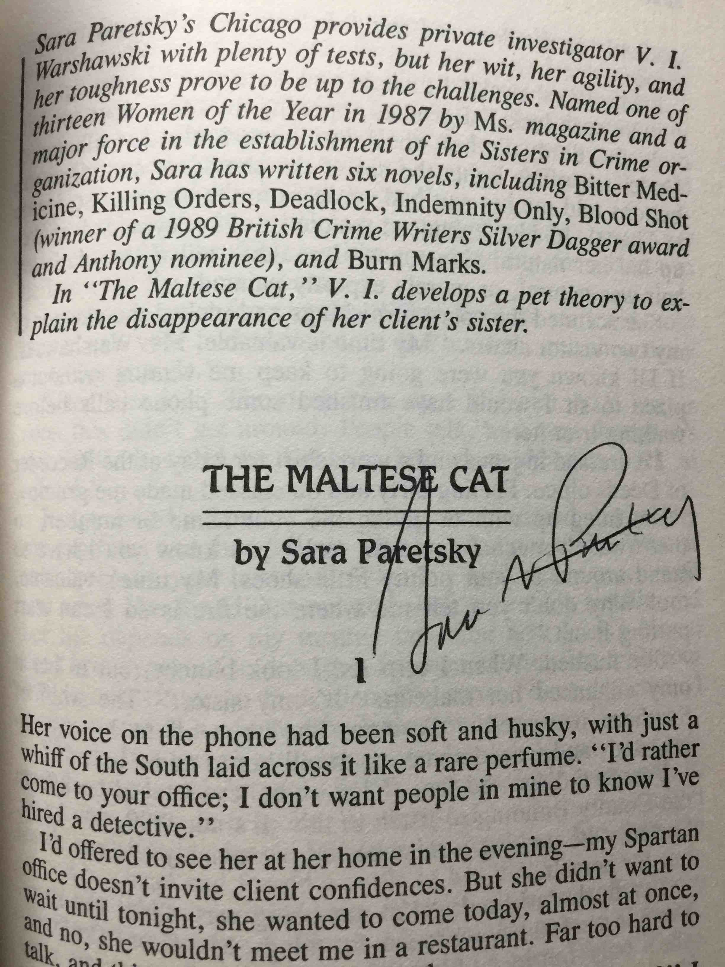 Book cover picture of (anthology) Paretsky, Sara, signed.  Roberts, Gillian, Chelsea Quinn Yarbro, Susan Trott and others, contributors.  Wallace, Marilyn, editor. SISTERS IN CRIME 3. New York: Berkley, (1990.)