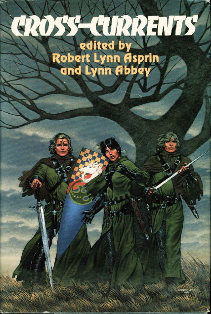 Book cover picture of Asprin, Robert Lynn; Cherryh, C.J.; Abbey, Lynn; Morris, Janet; Offutt, Andrew J. CROSS-CURRENTS: Storm Season, The Face of Chaos and Wings of Omen. Garden City, New York: Nelson Doubleday, 1984.