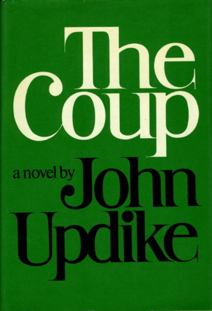 Book cover picture of Updike, John. THE COUP. New York: Random House, 1978.