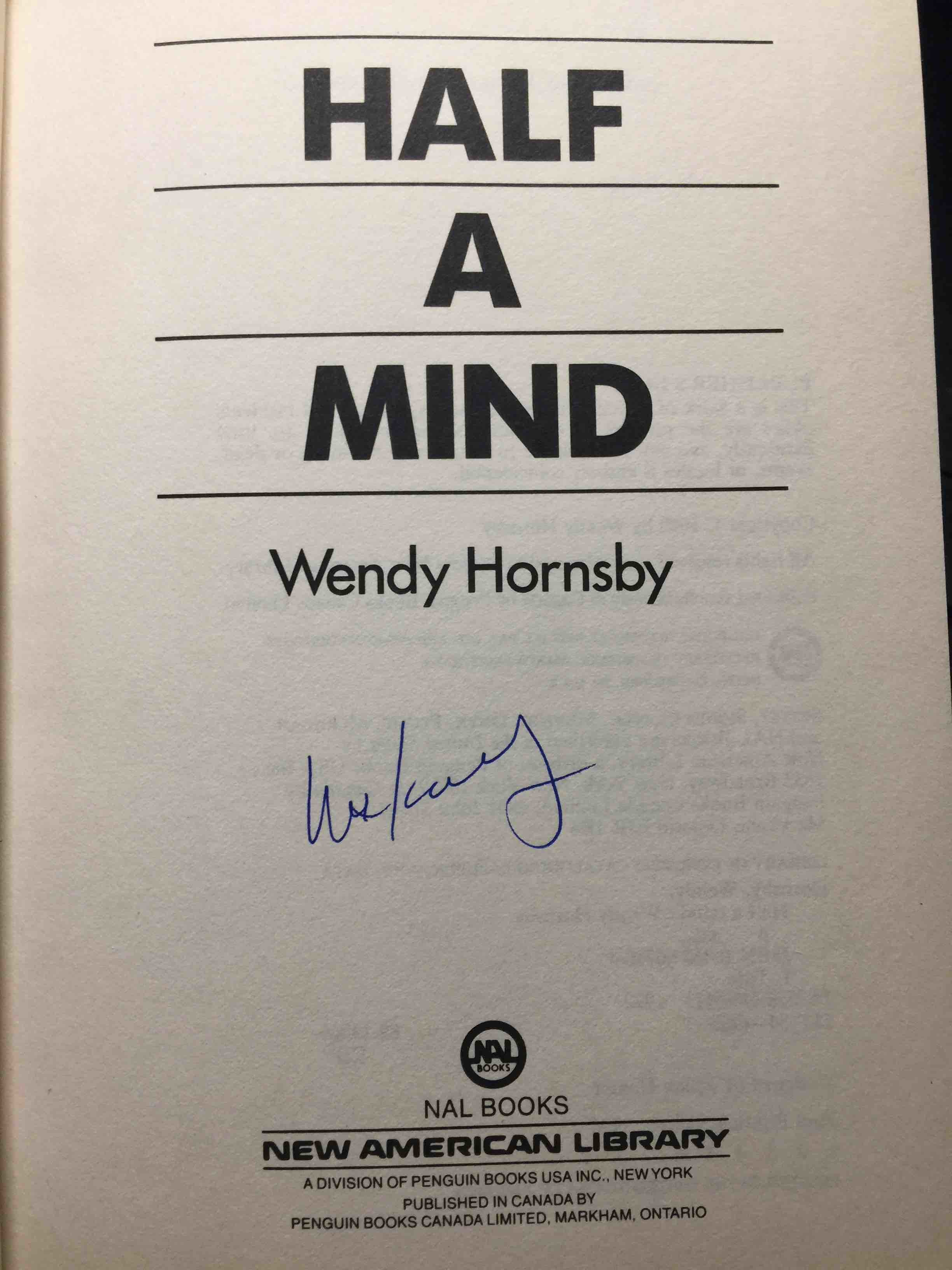 Book cover picture of Hornsby, Wendy. HALF A MIND. New York: New American Library 1990.