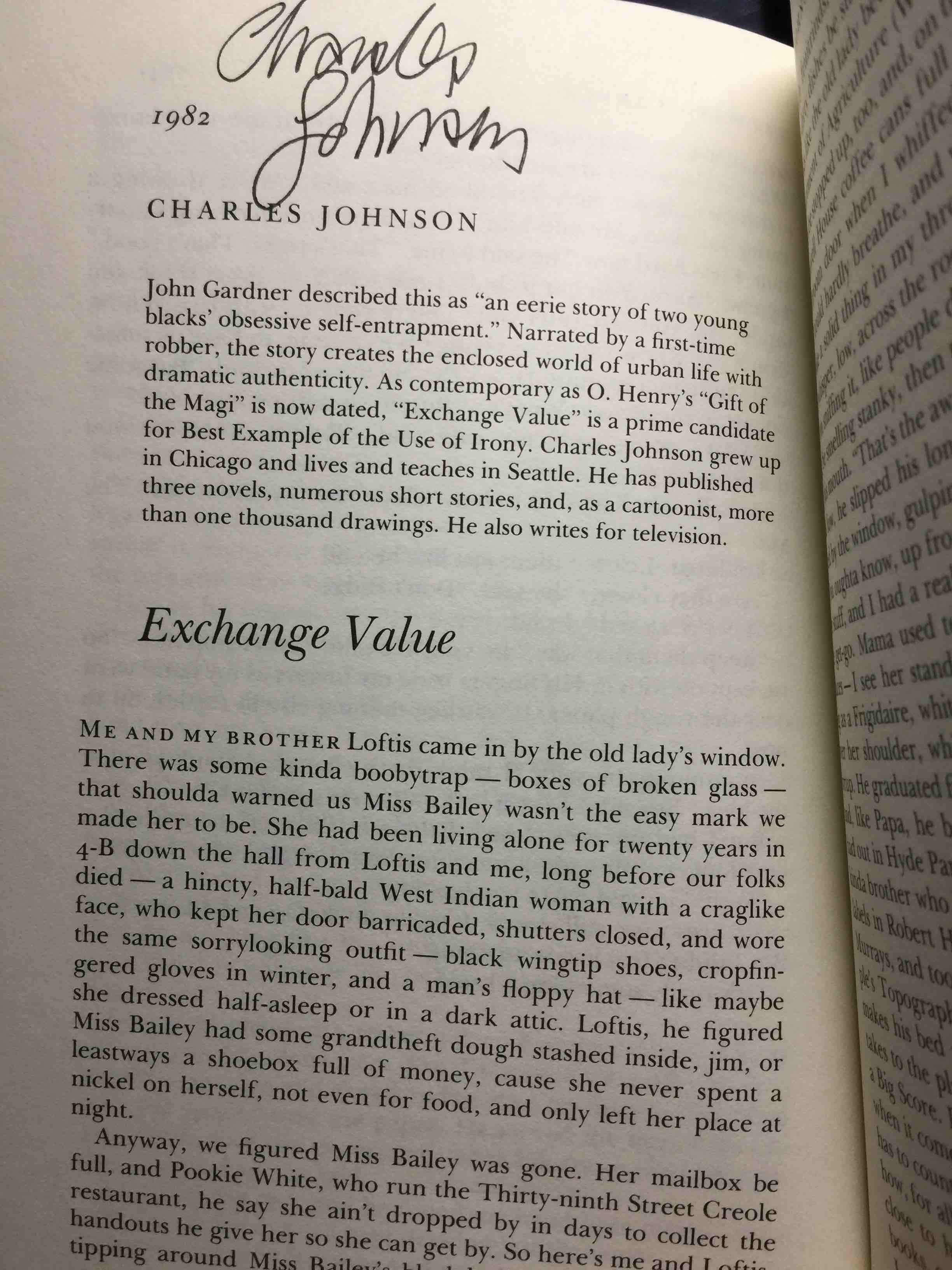 [ANTHOLOGY, SIGNED] SHANNON RAVENEL,  EDITOR. CHARLES JOHNSON, SIGNED. - THE BEST AMERICAN SHORT STORIES OF THE EIGHTIES.