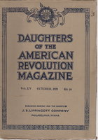 DAUGHTERS OF THE AMERICAN REVOLUTION MAGAZINE, Volume LV (55), Number 10, October 1921. by (Daughters of the American Revolution) Theodore T. Belote and others, contributors.
