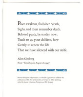 "Broadside: ""PEACE AWAKENS. . . "" . by Ginsberg, Allen."
