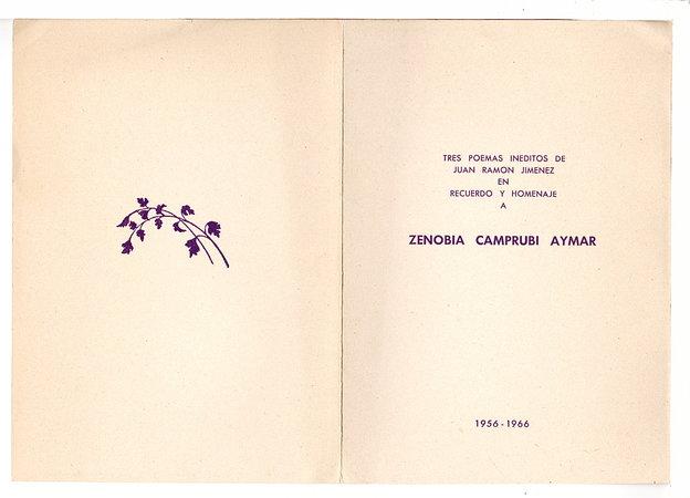 TRES POEMAS INEDITOS DE JUAN RAMON JIMENEZ EN RECUERDO Y HOMENAJE A ZENOBIA CAMPRUBI AYMAR. by Jimenez, Juan Ramon (1881-1958)