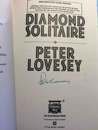 DIAMOND SOLITAIRE. by Lovesey, Peter.