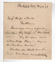 AUTOGRAPHED NOTE by Beecher, Henry Ward (1813-1887)
