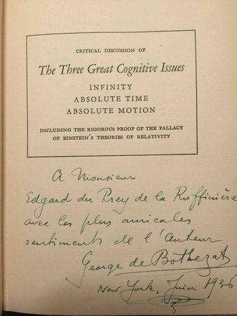 BACK TO NEWTON: A Challenge to Einstein's Theory of Relativity. by Bothezat, George de (1882-1940)