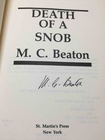 DEATH OF A SNOB. by Beaton, M. C.  (pseudonym of Marion Chesney)
