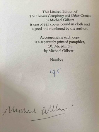 THE CURIOUS CONSPIRACY and Other Crimes. by Gilbert, Michael.