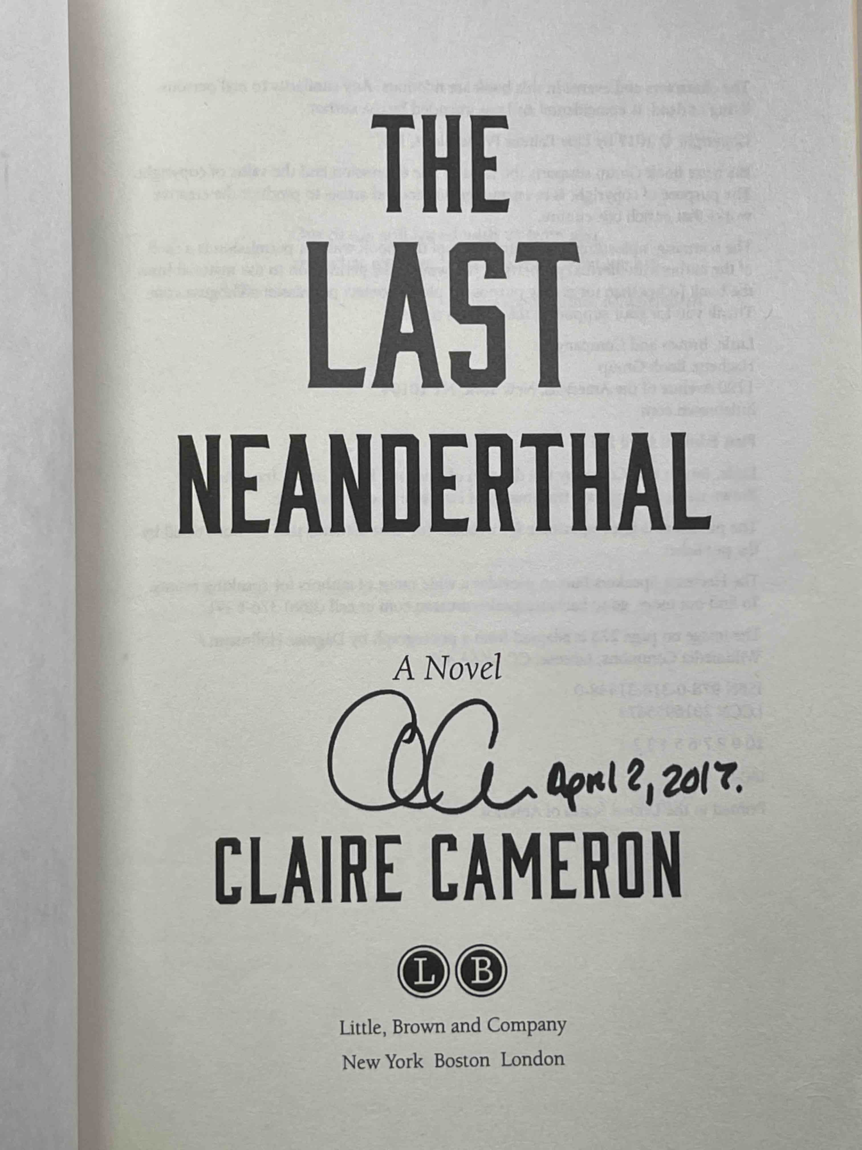 CAMERON, CLARE. - THE LAST NEANDERTHAL.