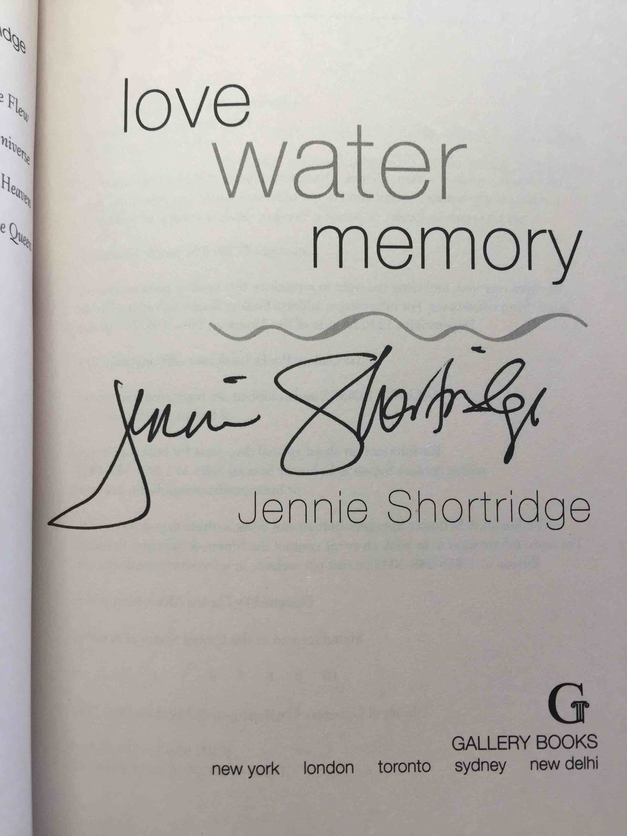 SHORTRIDGE, JENNIE. - LOVE WATER MEMORY.