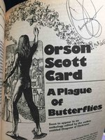 'A Plague of Butterflies' in AMAZING SCIENCE FICTION STORIES, November 1981 (vol 28, no 3.) by Card, Orson Scott; Somtow Sucharitkul, Parke Godwin, Marvin Kaye, Robert Silverberg, Jack Woodhams and others.