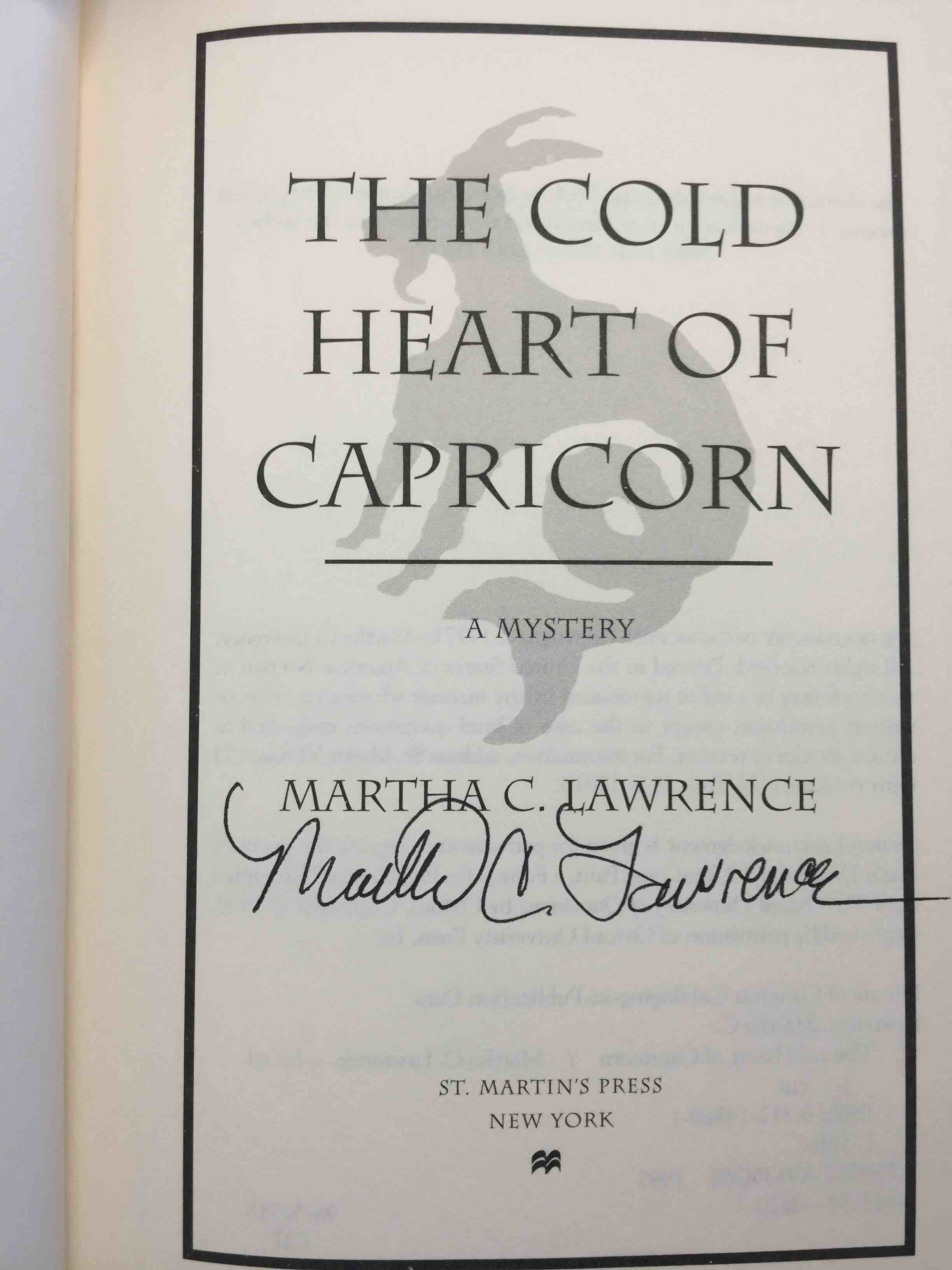 LAWRENCE, MARTHA. - THE COLD HEART OF CAPRICORN.