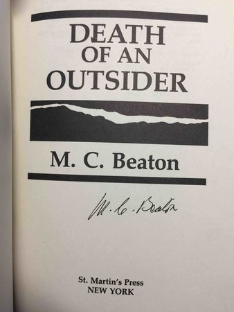 DEATH OF AN OUTSIDER. by Beaton, M. C. (pseudonym of Marion Chesney)