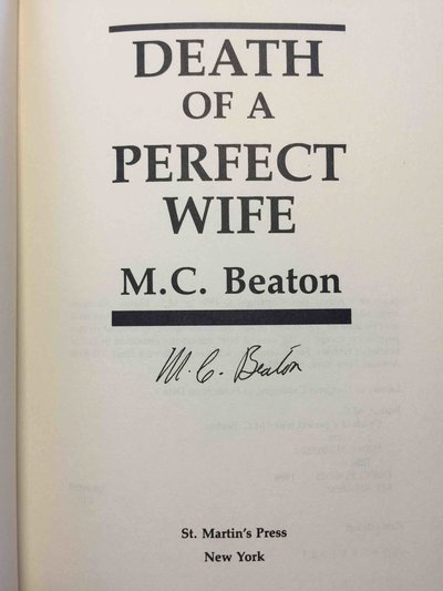 DEATH OF A PERFECT WIFE. by Beaton, M. C. (pseudonym of Marion Chesney)