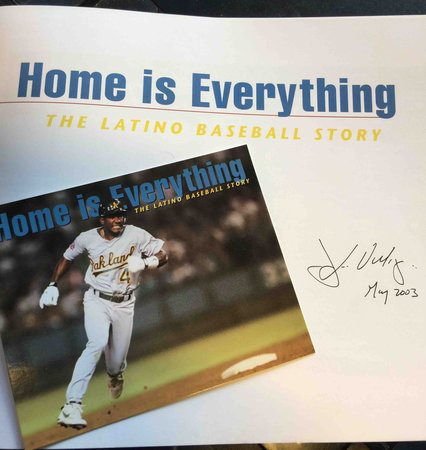 HOME IS EVERYTHING: The Latino Baseball Story.  by Breton, Marcus; photographs by Jose Luis Villegas (signed); preface by Orlando Cepeda.