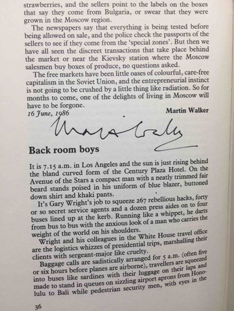 THE BEDSIDE GUARDIAN 35: a Selection from the Guardian 1985 - 86. by [Anthology, signed] Webb, W. L.. editor. Martin Walker, signed; Salman Rushdie, Andre Brink, Barry Unsworth and others, contributors.