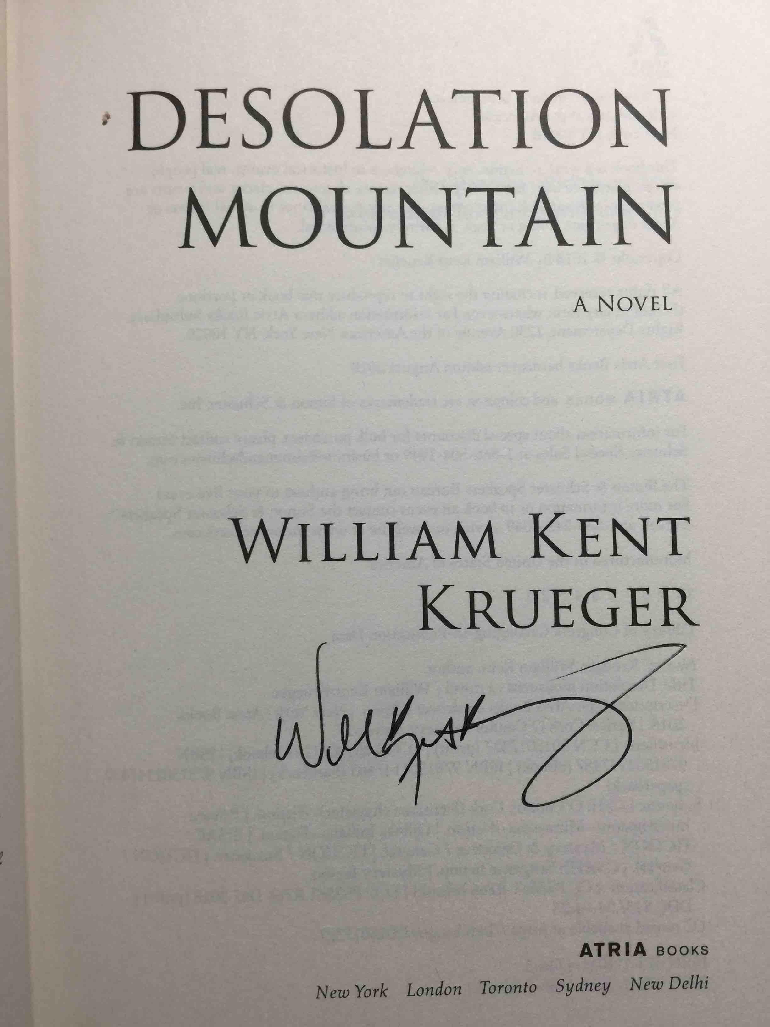 KRUEGER, WILLIAM KENT. - DESOLATION MOUNTAIN.