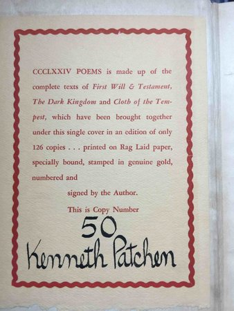 CCCLXXIV Poems (First Will and Testament, The Dark Kingdom, and Cloth of the Tempest) by Patchen, Kenneth