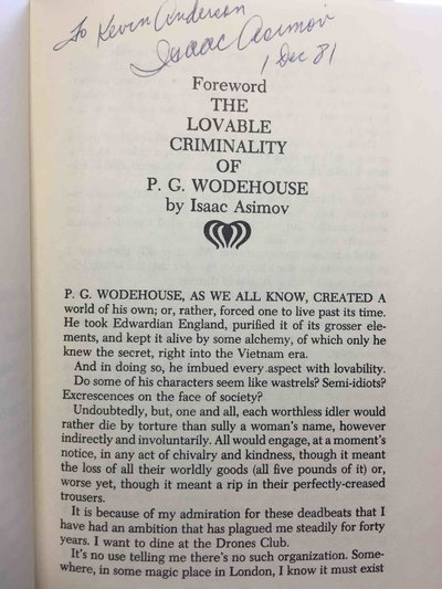 WODEHOUSE ON CRIME. by Wodehouse, P. G.; Foreword by Isaac Asimov (signed)