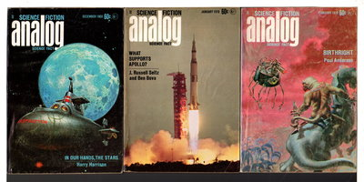 """In Our Hands, the Stars"" in ANALOG Science Fiction / Science Fact - December 1969, January and February 1970, Volume LXXXIV, number 4, 5, and 6. (set of 3 issues.) by Campbell, John W., editor; Harrison, Harry, signed."