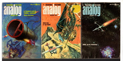 """A Transatlantic Tunnel, Hurrah!"" in ANALOG Science Fiction / Science Fact - April, May and June, 1972, Volume LXXXIX, numbers 2, 3, and 4. (set of 3 issues.) by Harrison, Harry, signed; Bova, Ben, editor."