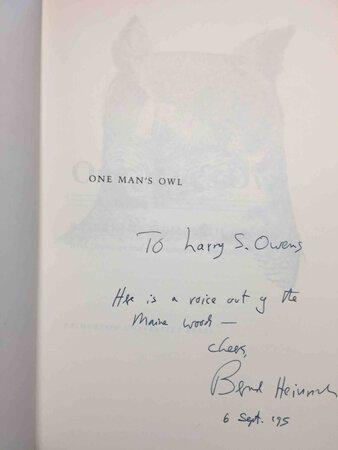 ONE MAN'S OWL. by Heinrich, Bernd.