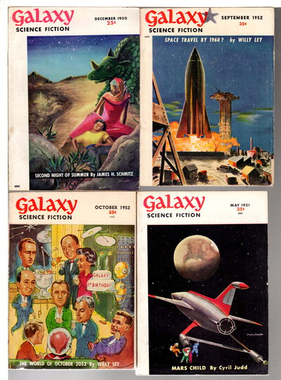 GALAXY SCIENCE FICTION MAGAZINE - Eight Issues: December 1950; April, May, July, August 1951; July, September and October, 1952. by Gold, H. L., editor; Theodore Sturgeon, Isaac Asimov, James Schmitz, John D. MacDonald, Willy Ley and others, contributors.