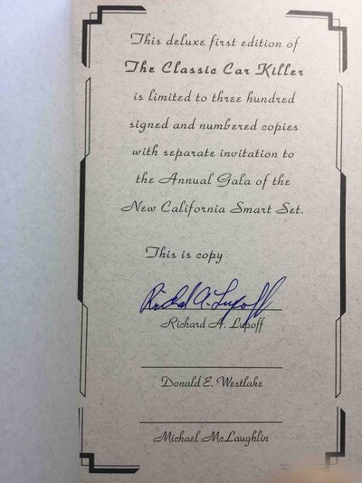 THE CLASSIC CAR KILLER. by Lupoff, Richard A. (Introduction by Donald E. Westlake.)