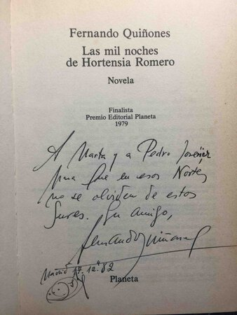 LAS MIL NOCHES DE HORTENSIA ROMERO. by Quinones, Fernando (1931-1998)