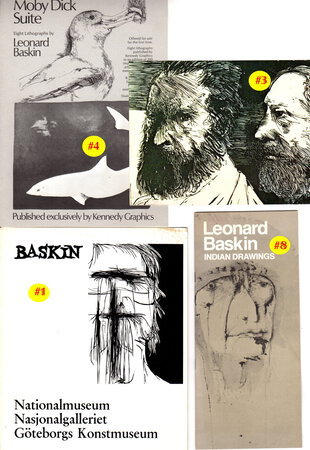 LEONARD BASKIN: COLLECTION OF TWELVE ITEMS: Exhibition Catalogues and Related Epherma, 1969 to 1985. by Baskin, Leonard.