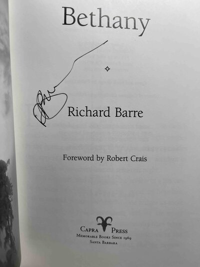 BETHANY. by Barre, Richard; foreword by Robert Crais.