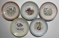 SET OF FIVE PORCELAIN PLATES. by Andersen, Hans Christian