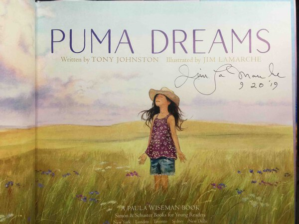 PUMA DREAMS. by LaMarche, Jim, illustrator, signed. Johnston, Tony