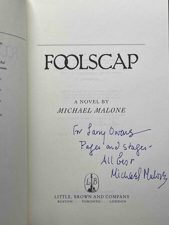 FOOLSCAP. by Malone, Michael.