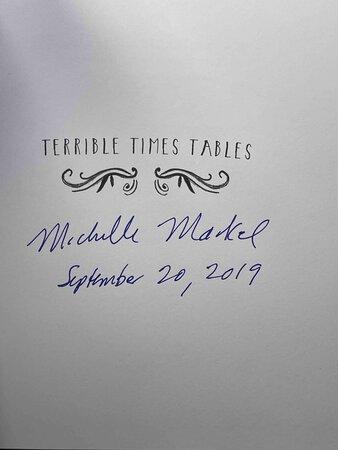 TERRIBLE TIMES TABLES. by Markel, Michelle. Merrilee Liddiard, illustrator.