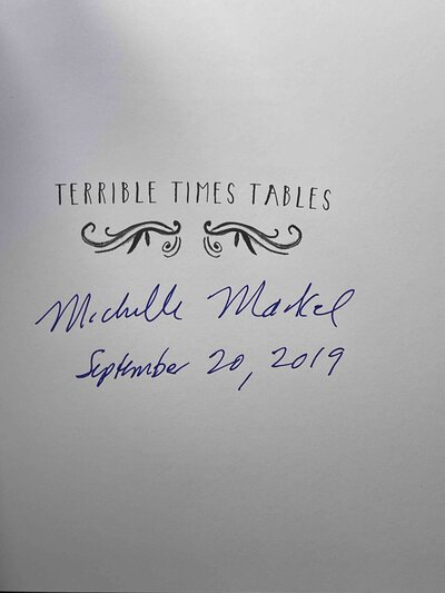 TERRIBLE TIMES TABLES. by Markel, Michelle. Merrilee Liddiard, illustrator.