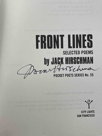 FRONT LINES: Selected Poems. by Hirschman, Jack.