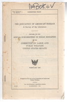 THE EDUCATION OF AMERICAN INDIANS: A Survey of the Literature. by Berry, Brewton.