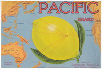 Fruit crate label: PACIFIC BRAND. Packed by Johnston Fruit Co. by Johnston Fruit Co.