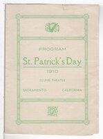 PROGRAM ST. PATRICKS DAY 1910 CLUNIE THEATER, SACRAMENTO.