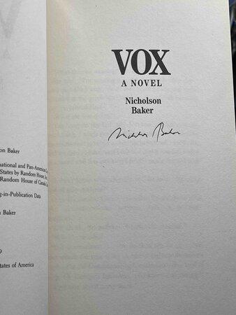VOX. by Baker, Nicholson.