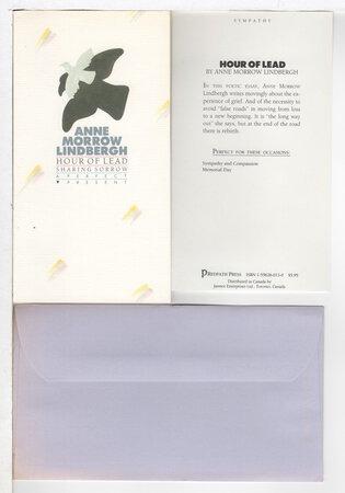 HOUR OF LEAD: Sharing Sorrow. by Lindbergh, Anne Morrow.