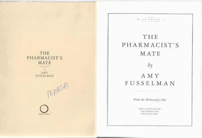 THE PHARMACIST'S MATE. by Fusselman, Amy.
