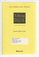 TALKING IN THE DARK: Stories. by Louis, Laura Glen.